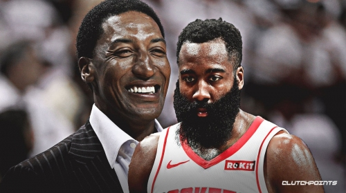 Rockets' James Harden reacts to passing Scottie Pippen on scoring list while playing in Chicago