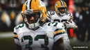 Aaron Jones reacts to the Packers' big win over Panthers