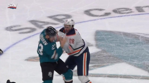McDavid dropped in neutral zone then Manning fights Goodrow