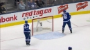 John Tavares snaps his stick after Zdeno Chara's empty net goal