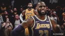 Lakers star LeBron James reacts on his epic dunk over Kings forward Nemanja Bjelica