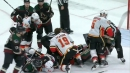 Goalies get involved as line brawl erupts between Flames and Coyotes