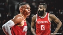 James Harden reacts to Russell Westbrook asking about workout after 49-point game