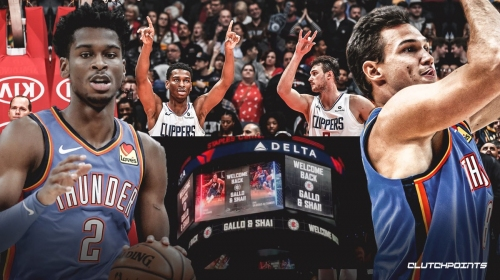 Thunder's Shai Gilgeous-Alexander, Danilo Gallinari react to Clippers fans, tribute video