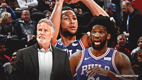 Sixers' Brett Brown, Joel Embiid react to Ben Simmons' making his first career 3-pointer