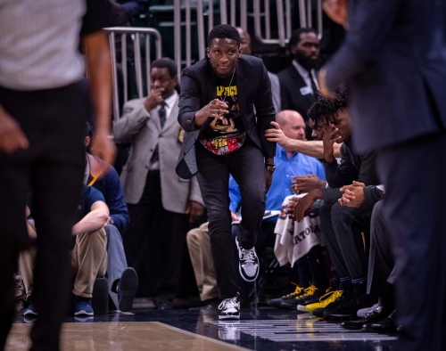 Nate McMillan is seeing progress from Victor Oladipo in practice