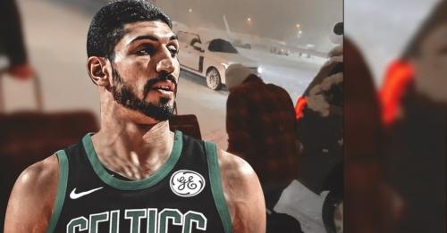 VIDEO: Enes Kanter starts snowball fight with Celtics teammates