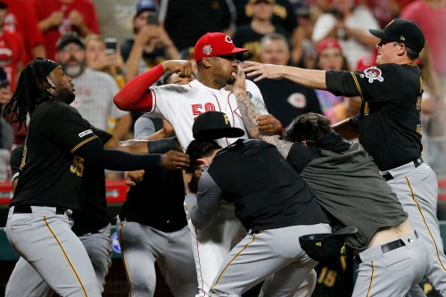 Enquirer photographer's picture of Reds and Pirates brawl chosen for CNN's '2019: The year in pictures'