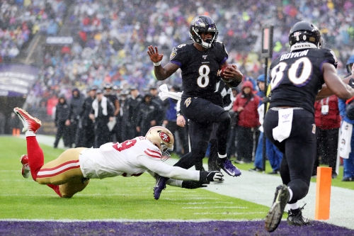 49ers suspend announcer for saying Lamar Jackson's skin tone gives him advantage