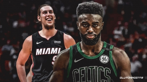 Video: Celtics' Jaylen Brown blows kiss to Heat bench after back-to-back triples, says it's for Kelly Olynyk