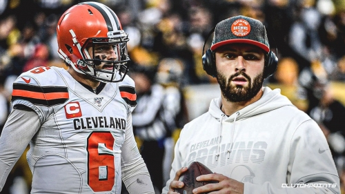 Browns' Baker Mayfield seen throwing in practice without a wrap or a glove