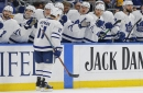 Maple Leafs break out in first period, coast past Cup-champion Blues