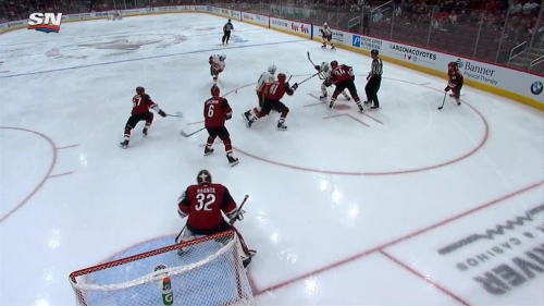 Flames' Ryan wins draw, it falls right to Gaudreau who fires it past Raanta