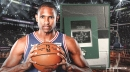 Sixers' Al Horford reacts to 'Welcome Back' photo presented by Celtics