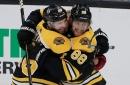 Pastrnak hat trick helps Bruins hold off Jets