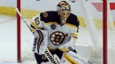 Bruins' Tuuka Rask leaves game after being hit in head by Bemstrom