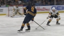 Jack Eichel chips puck to himself, walks Shea Theodore, beats Fleury short side