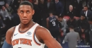 RJ Barrett exits game vs. Suns with a sprained ankle
