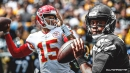 Russell Wilson reacts to Patrick Mahomes' impressive first half vs. Titans
