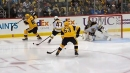 Crosby goes between the legs on no-look pass to feed Blueger