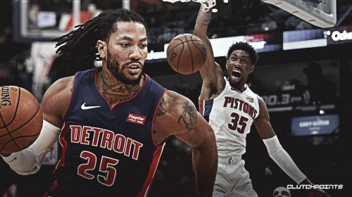 VIDEO: Pistons' Derrick Rose feeds a trailing Christian Wood with the no-look bounce pass for the vicious dunk