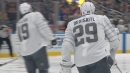 Matthew Tkachuk sets up Leon Draisaitl for a goal in the 2020 NHL All-Star Tournament