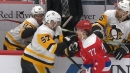 Sidney Crosby grabs T.J. Oshie's stick from the bench, receives penalty