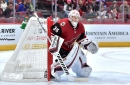 Coyotes goalie Darcy Kuemper suffers 'setback' during morning skate in Montreal