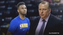 Andrew Wiggins reacts to Tom Thibodeau showing up to Warriors practice