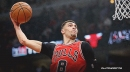 Zach LaVine busts out free-throw line 360 cradle dunk in practice