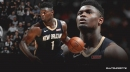 Pelicans' Zion Williamson reacts to busted rim after Rising Stars dunk