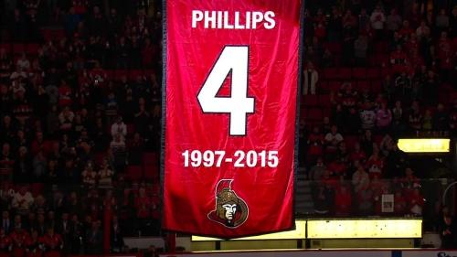 Ottawa Senators retire Chris Phillips' jersey before puck drop