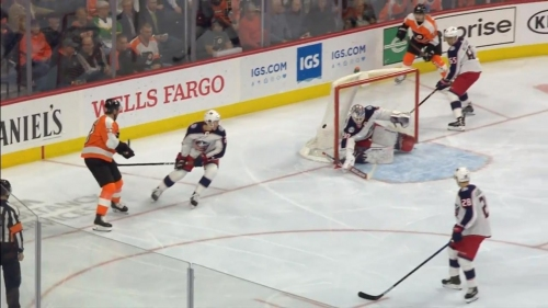 Flyers' Hayes scores after puck banks off Merzlikins' head