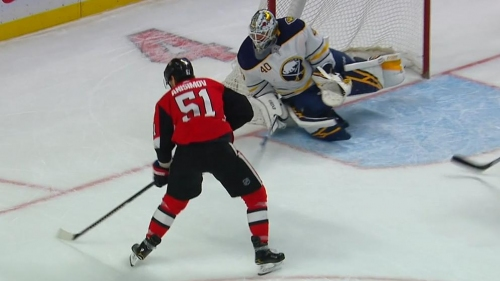 Senators score three goals in 1:14 to erase Sabres' two-goal lead