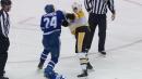Kasperi Kapanen tries to fight Patric Hornqvist, takes on Jared McCann instead