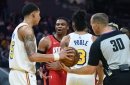 Warriors longtime foil Russell Westbrook goes all alpha male at the end of a Houston blowout