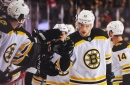 Flames suffer letdown after furious 1st period as Bergeron's pair boosts Bruins