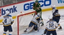 Marcus Foligno's shot hops up on Binnington before falling into net