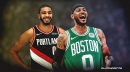 Jayson Tatum, Carmelo Anthony swap jerseys after Celtics-Blazers matchup