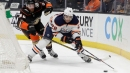 Oilers' Andreas Athanasiou suffers lower-body injury vs. Golden Knights