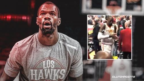 VIDEO: Hawks' Dewayne Dedmon heads for the locker with entire bottle of hand sanitizer