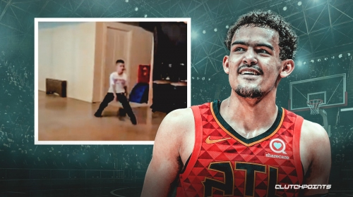 Trae Young reacts to boy copying all of his filthy moves