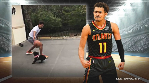 Trae Young is out here crossing up his dog and putting him on skates