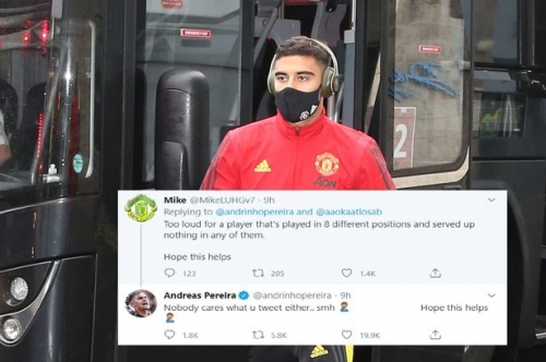 Andreas Pereira hits back at Manchester United fan criticism