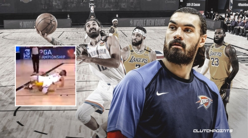 VIDEO: Thunder's Steven Adams suffers scary fall, exits game