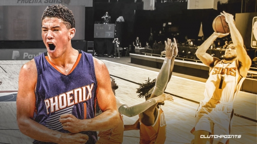 Suns' Devin Booker reacts to his epic 40-foot 3-pointer vs. Thunder