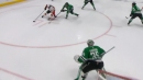 Dube blows by Stars' defence and tucks it past Khudobin