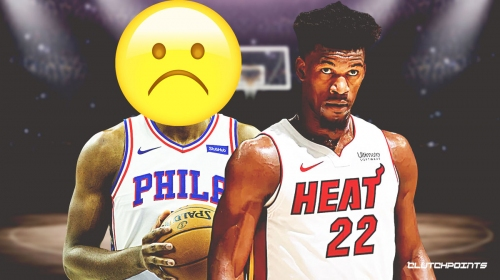 Jimmy Butler reacts to Joel Embiid longing for him to be back on Sixers during Game 1