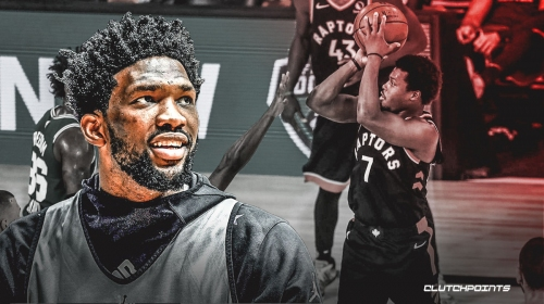 Joel Embiid reacts to Kyle Lowry's epic 53-minute performance in Game 6 of Raptors vs. Celtics