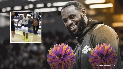 Lakers star LeBron James changes hats to become his son Bryce's hype man